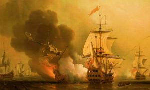 Battle of the sinking of the San Jose.  Action off Cartagena, May 28, 1708.