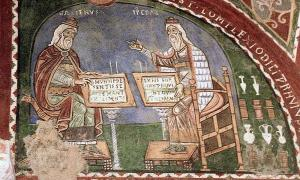 The diagnostic methods and treatments in the Trotula are based on the theories of Claudius Galen and Hippocrates, shown in this 12th century mural from Anagni in Italy.