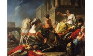 Tullia drives her chariot over the body of her father, Servius Tullius. Painting by Jean Bardin, 1765.