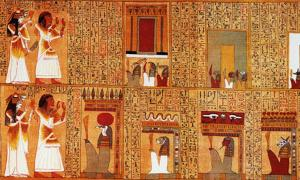 Detail of two ancient Egyptian 'gate spells'. On the top register, Ani and his wife face the 'gates of the House of Osiris'. Below, they encounter the 'mysterious portals of the House of Osiris in the Field of Reeds'. All are guarded by unpleasant underworld protectors.