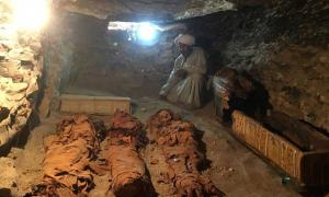 Mummies of a woman and two children found in burial chamber at Draa Abul Naga, Luxor