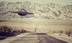 A UFO flying over the New Mexico desert.