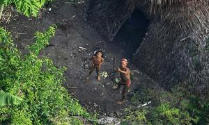 An uncontacted tribe in the jungle of Brazil