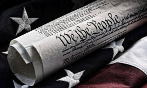United States constitution and flag