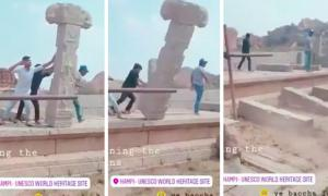 Hampi's UNESCO world heritage site being wrecked by vandals.