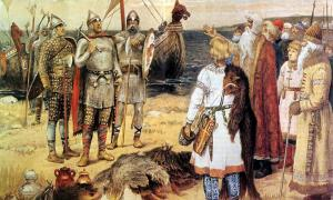 The Invitation of the Varangians: Rurik and his brothers Sineus and Truvor arrive at the lands of the Ilmen Slavs at Staraya Ladoga.
