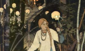 An illustration of Vasilisa the Beautiful, by Ivan Bilibin.