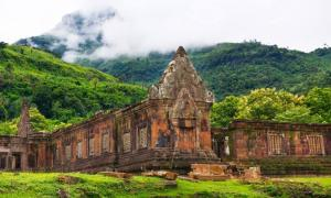 The ruins of the temple sanctuary at Vat Phou, Laos