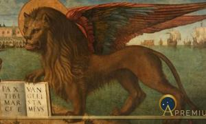 """Mark the Evangelist's symbol is the winged lion, the Lion of Saint Mark. Inscription: PAX TIBI MARCE EVANGELISTA MEVS (""""peace be upon you, Mark, my evangelist""""). The same lion is also symbol of Venice (Public Domain)"""