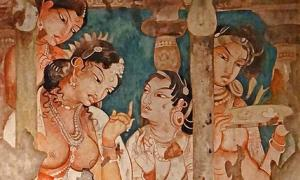 Painting from the Ajanta Caves, India.