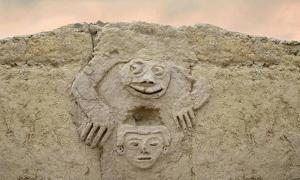The newly uncovered wall carvings found in Vichama, Peru.