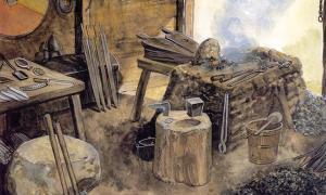 A Viking weapon workshop.