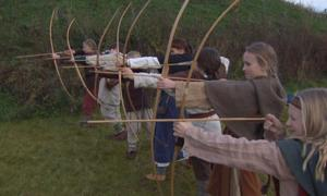 These Norwegian children have traveled back to the Viking Age and practice archery.