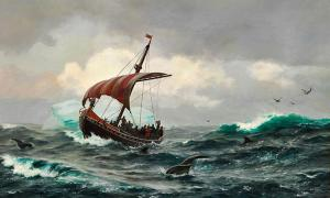 Vikings. Summer in the Greenland coast circa year 1000.