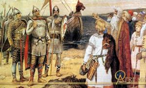 The Invitation of the Varangians: Rurik and his brothers Sineus and Truvor arrive at the lands of the Ilmen Slavs at Staraya Ladoga. Painted prior to 1913 by Viktor.M.Vasnetsov.