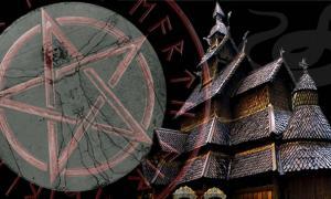 Borgund Stave Church (Eduardo/CC BY-SA 2.0), pentagram, Vitruvian man, and serpent