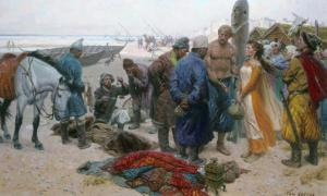 A Viking offers a slave girl to a Persian merchant.