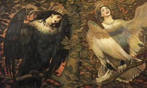 Viktor Vasnetsov's Sirin (left) and Alkonost (right) Birds of Joy and Sorrow, 1896