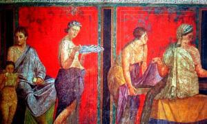 Roman Painting - Villa dei Misteri, Pompeii, Italy. Miltos was used for yellow and sometimes red in many Greco-Roman paintings