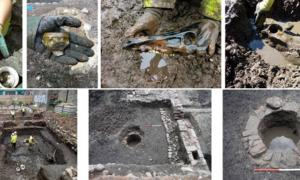 A selection of site features and artifacts found during the archaeological dig in Edinburgh, Scotland prior to a Virgin Hotel construction project
