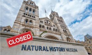 Amid coronavirus lockdowns and closures, you can spend your extra time in one of the virtual museums worldwide. (Main: Natural History Museum in London entrance. Inset: Closed sign.) Source: kmiragaya & Julistock / Adobe stock