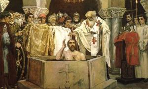 Vladimir the Great, known as Volodymyr in the Ukraine, or even Saint Vladimir, seen here during his baptism, has gone down in history as the leader which brought Christianity to the pagan Slavs. Source: Public domain