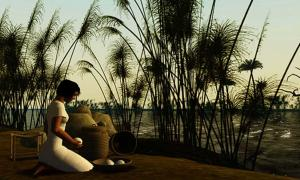 Artist's depiction of an Ancient Egyptian girl kneeling by the Nile River.