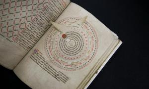 A volvelle from a 14th century English manuscript is on display at the J. Paul Getty Museum.