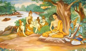 Wallpainting in a Laotian temple, depicting the Bodhisattva Gautama (Buddha-to-be) undertaking extreme ascetic practices before his enlightenment. A god is overseeing his striving, and providing some spiritual protection. The five monks in the background are his future 'five first disciples'.