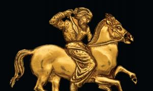 A gold plaque depicting a Scythian rider with a spear in his right hand. One of the artifacts currently on display.