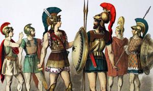 Ancient Greek warriors with armor and weapons.