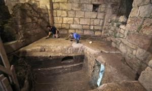 Excavating subterranean chambers at Jerusalem's Western Wall, Israel. Source: IAA