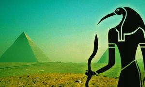 The Giza Pyramids - CC BY-NC-SA 2.0, and Egyptian god Thoth – CC0)