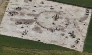 Archaeological dig site near Winterborne Kingston in Dorset. Credit: Bournemouth University.