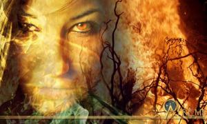 Witch of Eye was burned at the stake. Fire and witch