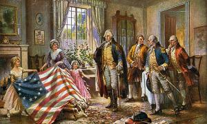"A typical portrayal of women in America society after the Revolution: Betsy Ross and two children presenting the ""Betsy Ross flag"" to George Washington and three other men. Source: Edward Percy Moran / Public domain"