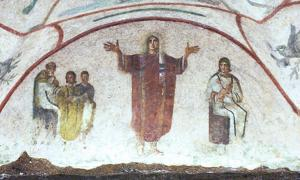 Orant, Catacomb of Priscilla. It has been argued that these catacombs provide evidence for women having a stronger role in early Christianity, perhaps even in the priesthood.