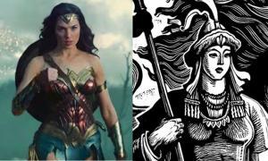 Left: Gal Gadot as Wonder Woman. Right: Warrior heroine Saikal