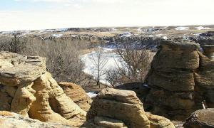 Hoodoos above the Milk River in winter.