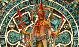 Detail of 'Xipe Totec.' (Michael Jaecks/Deviant Art) Background: Aztec calendar