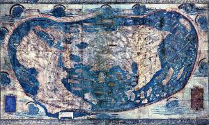 """The Yale world map of """"Henricus Martellus Germanus"""" (Heinrich Hammer). It is the most detailed """"Dragon Tail"""" map by Martellus. It is the only one with a coordinate grid."""
