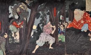Yoshitoshi, Ushiwaka Maru learns Martial Arts from Sojobo, King of the Tengu, 1880