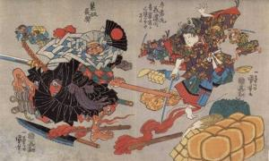 Fight between Ushiwaka Maru (Minamoto no Yoshitsune) and Kumasaka Chôhan at the inn; bales and a torch on the ground, and Kisanda in the distance. (circa 1840-1843) By Utagawa Kuniyoshi.