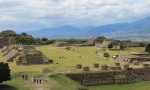 Panoramic of the Zapotec ruins of Monte Alban, Oaxaca, Mexico