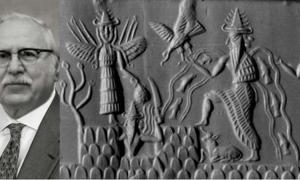 Photo of Zecharia Sitchin (left)(CC0)Akkadian cylinder seal dating to circa 2300 BC depicting the deities Inanna, Utu, and Enki, three members of the Anunnaki.(right)