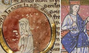 Medieval miniature of Æthelflæd in genealogical roll of the kings of England 13th century.(Public Domain)/ Æthelflæd as depicted in the cartulary of Abingdon Abbey