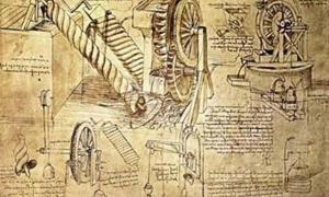 Sketches of inventions by Leonardo da Vinci