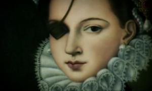 Detail of portrait depicting Ana de Mendoza