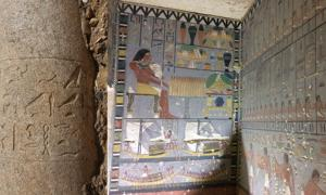 Left: The inscription on the column lists the titles of Djedkare's wife, queen Setibhor. (Hana Vymazalová) Right: North and east walls of the decorated antechamber of the ancient Egyptian nobleman's tomb.
