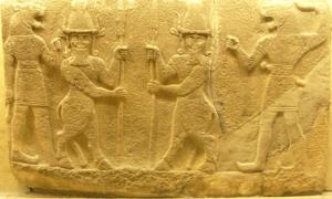 Supernatural beings such as the Kusarikku hybrid bull-men, pictured here in the middle, are featured in ancient Mesopotamian lullabies. They remain kind until disturbed, in this case, disturbed by a baby's cries.                    Source: QuartierLatin1968 / CC BY-SA 2.0